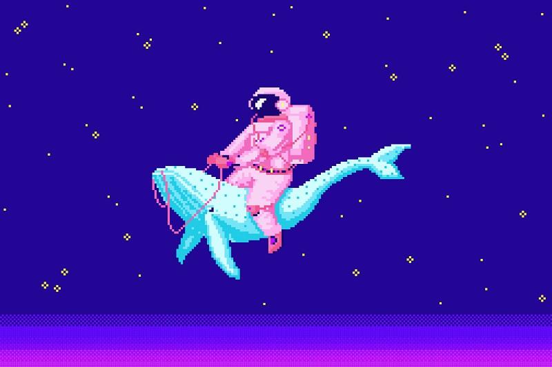 kosmonauta lecący na delfinie, pixel art